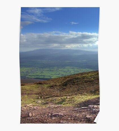 View from Trail up to top of Slievenamon, Tipperary Poster