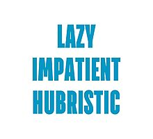 LAZY IMPATIENT HUBRISTIC - Blue on Grey Programmer Shirt Photographic Print