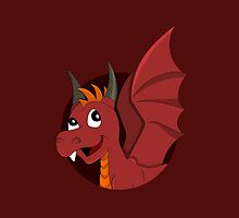 Cute red dragon cartoon by Radka Kavalcova