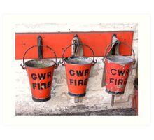 Fire buckets GWR, Didcot Railway Centre Art Print