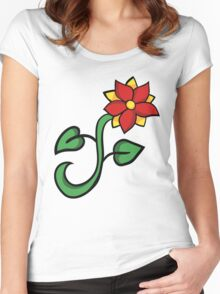 Red floral Women's Fitted Scoop T-Shirt