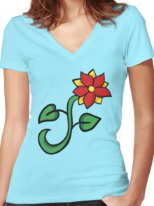 Red floral Women's Fitted V-Neck T-Shirt