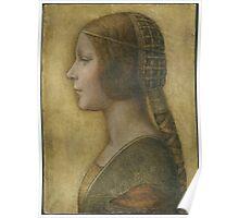 La Bella Principessa - 15th Century - Profile of a Young Fiancee - Leonardo da Vinci Poster