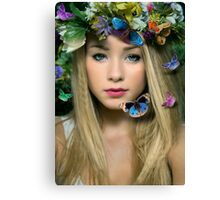 butterflies flowers eyes Canvas Print