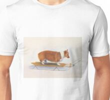 Welsh corgi sledding Unisex T-Shirt