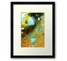 Orange Blue Abstract Print  Framed Print