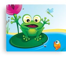 Critterz-Frog-Giggles in the Pond Canvas Print