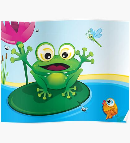 Critterz-Frog-Giggles in the Pond Poster