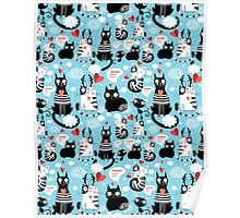 bright pattern cat lovers Poster