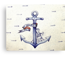 A sailors life for me, cat & anchor  Canvas Print