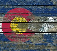 Flag of Colorado on Rough Wood Boards Effect by Jeff Bartels