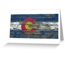 Flag of Colorado on Rough Wood Boards Effect Greeting Card