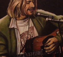 Nirvana / Kurt Cobain - Unplugged. Oil painting Sticker