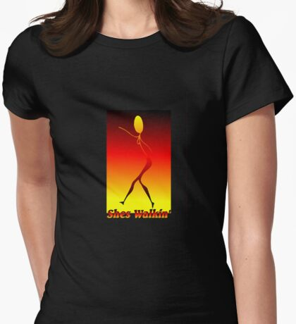 Shes Walkin Womens Fitted T-Shirt