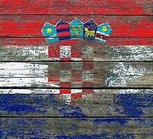 Flag of Croatia on Rough Wood Boards Effect by Jeff Bartels