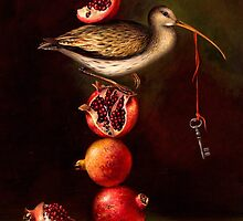 Pyramid with Pomegranates. Prints on Premium Canvas.  by Irena Aizen