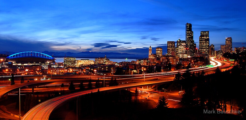 Seattle Sunset -02- by Mark Bauschke