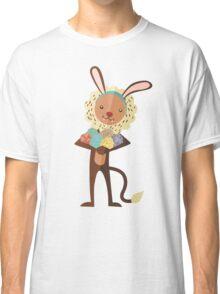 Cute lion Easter bunny ears animal print eggs Classic T-Shirt