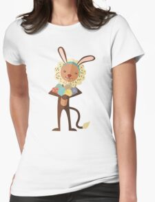 Cute lion Easter bunny ears animal print eggs Womens Fitted T-Shirt