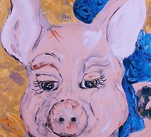 Blue Ribbon Pig by EloiseArt