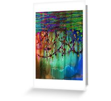 PRISMACOLOR PEARLS 1 Colorful Rainbow Watercolor Abstract Painting Blue Green Teal Red Ocean Waves Fine Art Greeting Card