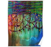 PRISMACOLOR PEARLS 1 Colorful Rainbow Watercolor Abstract Painting Blue Green Teal Red Ocean Waves Fine Art Poster