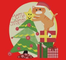 Christmas Santa Tabby Cat T-Shirt by Jamie Wogan Edwards