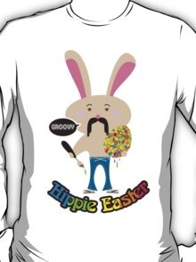 Groovy hippie Easter bunny painting Easter Egg T-Shirt