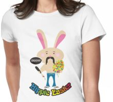 Groovy hippie Easter bunny painting Easter Egg Womens Fitted T-Shirt