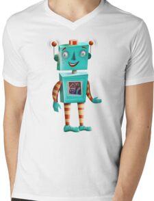 Aqua Robot Mens V-Neck T-Shirt