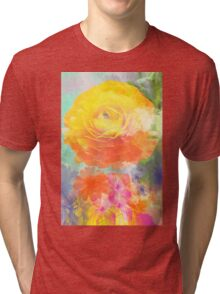 Painterly flowers in vivid summer colors Tri-blend T-Shirt