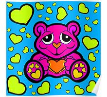 Love Teddy Bear Pink and Lime Green  Poster