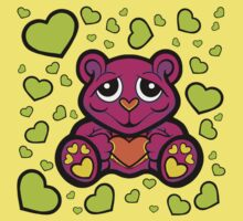 Love Teddy Bear Pink and Lime Green  Kids Clothes