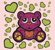 Love Teddy Bear Pink and Lime Green  One Piece - Long Sleeve