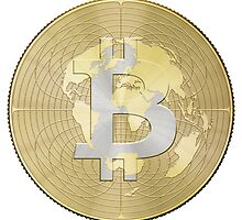 Bitcoin Borderless Crypto Currency Global World Earth Money by O O