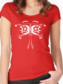 Psychedelic Butterfly (White) Women's Fitted Scoop T-Shirt