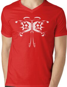 Psychedelic Butterfly (White) Mens V-Neck T-Shirt