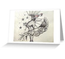 mystic muggy white witch cat  Greeting Card
