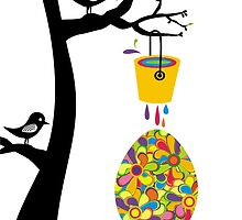 Cute birds in tree paint bucket painting Easter egg by BigMRanch