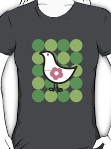 Retro Flower Daisy Chick on Green Dots T-shirt T-Shirt