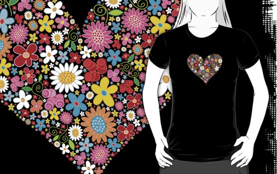 Spring Flowers Valentine Heart by fatfatin