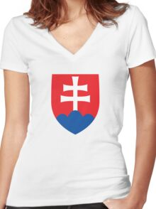 Roundel of the Slovak Air Force  Women's Fitted V-Neck T-Shirt