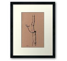 Winter Tree - original ink pen sketch on paper Framed Print