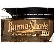 Baseball Field & Burma Shave Sign Poster