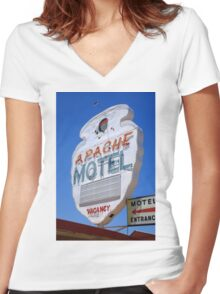 Route 66 - Apache Motel in Tucumcari Women's Fitted V-Neck T-Shirt
