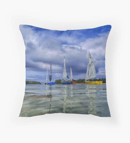 Sailing at Muri Beach Throw Pillow