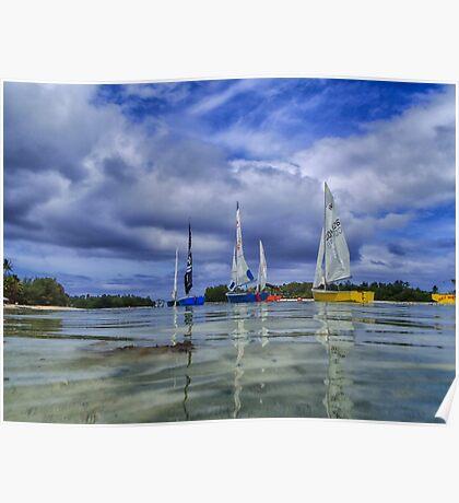 Sailing at Muri Beach Poster