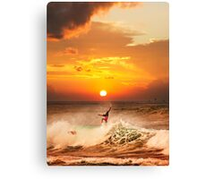 Sunset Surfing Canvas Print