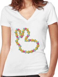 Colorful Jigsaw Baby Bunny with White Nose Women's Fitted V-Neck T-Shirt