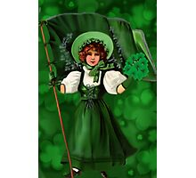GATHERING SHAMROCKS IN A FROCK ALL MADE OF GREEN -SAINT PARTICKS DAY PILLOW,TOTEBAG- PICTURE AND OR CARD Photographic Print